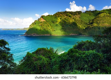 Beautiful views of Maui North coast, taken from famous winding Road to Hana. Hawaii, USA.