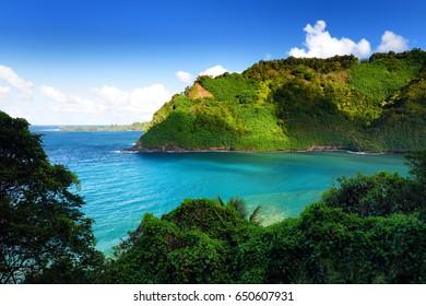 Beautiful views of Maui North coast seen from famous winding Road to Hana. Hawaii, USA.