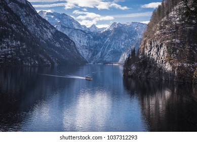 Beautiful views of the mountain lake Königsee.Bavaria.Germany