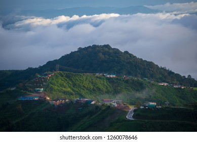 Beautiful views of the mountains and the city. Phetchabun Province in Thailand