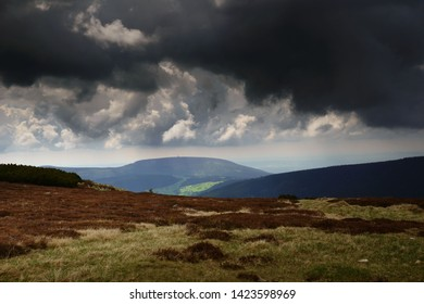 Beautiful views of the mountains from Modre Sedlo- trail  in the Giant Mountains /Krkonose in the Czech Republic in spring