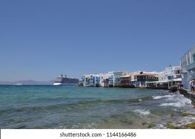 Beautiful Views Of The Neighborhood Of Little Venice With Its Idilicos Restaurants In Chora Island Of Mikonos .Arte History Architecture July 3, 2018. Chora, Island Of Mikonos, Greece.