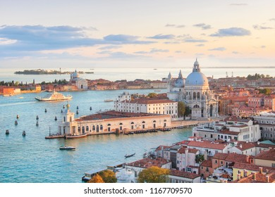 Beautiful views of Santa Maria della Salute and the Venetian lagoon in Venice, Italy
