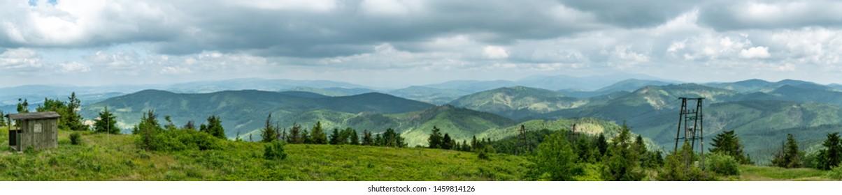 Beautiful views from top of Velka Raca peak on Kysucke Beskydy mountains in northern Slovakia near small village of Oscadnica