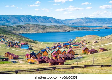 Beautiful views of the tourist centers and the Curkut Bay in August. Lake Baikal, Russia
