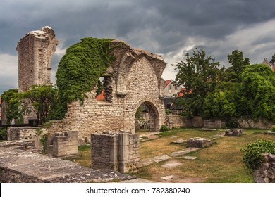 Beautiful views of Visby, main city on Gotland, island in Baltic Sea, Sweden.Best-preserved historical medieval city in Scandinavia. Ruins of churches of Saint Peter, St Hans. Stones covered by plants