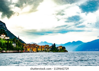Beautiful villa ,sky and lighting  after the rain in Lake Como Italy