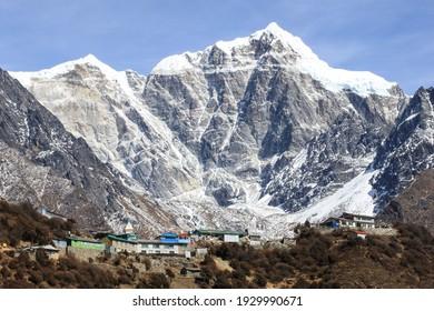 beautiful village in the lap of Himalaya , trekking to Gokyo lake Nepal Asia, photo taken on February 2019