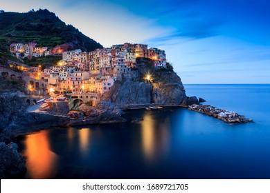 The beautiful village of Manarola in Cinque Terre, Italy