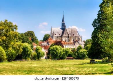 The Beautiful Village of Montresor, Loire, France, with St John the Baptist Collegiate Church