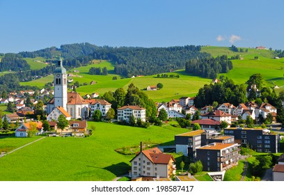 A beautiful village nested in the hills of Appenzellerland, Canton Appenzell, Switzerland