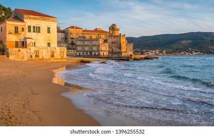 The beautiful village of Santa Maria di Castellabate at sunset, Cilento, Campania, southern Italy.