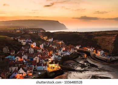 Beautiful village of Staithes, at dusk, North Yorkshire. In Staithes, England. On 24th February 2018.