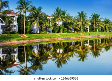 beautiful villas on the shore of the lake