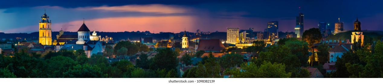 Beautiful Vilnius Night Panorama