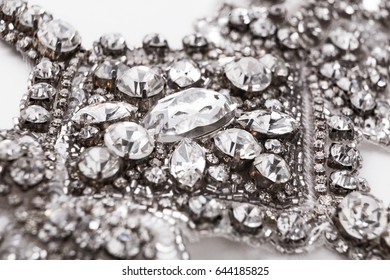 Beautiful vintage diamond necklace. Closeup of luxury jewelry with crystals. Artwork, female accessories, elegance concept