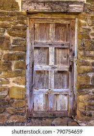 A beautiful vintage external door at the historic San Jose Spanish Mission (1720) in San Antonio, Texas.