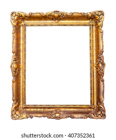 Beautiful vintage golden frame for paintings decorated with carvings and ornaments.