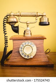 Beautiful Vintage old telephone on a desk