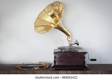 Beautiful vintage phonograph to listen to vinyl