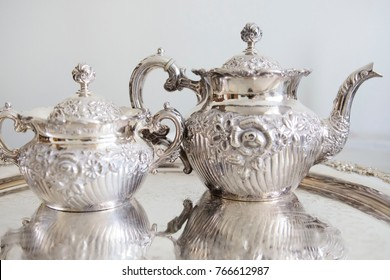 Beautiful vintage silver plate tea set for vintage shop or restaurant. english tea-time in retro style