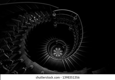 Beautiful vintage stairs in black and white.