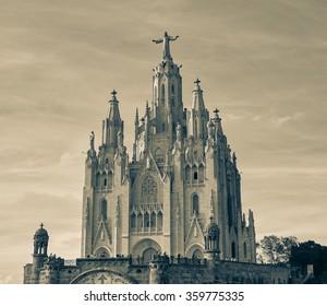 Beautiful vintage Tibidabo temple in Barcelona