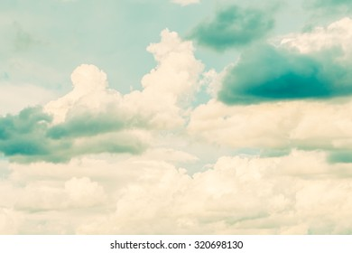Beautiful Vintage white cloud on blue sky background - vintage filter
