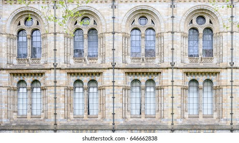 beautiful vintage windows of The Natural History Museum, London, UK