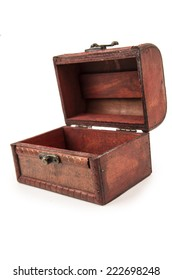 beautiful vintage wooden treasure chest toy open isolated on white