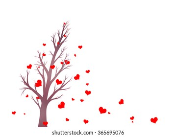 Beautiful violet color tree silhouette with red heart shape leaves in the wind illustration.