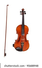 beautiful violin lies on a white background