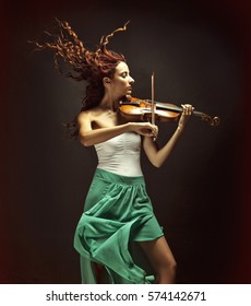 Beautiful Violinist Woman