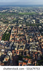 Beautiful vista of Zagreb from air. From Upper and Lower Town, to Sava river and across to New Zagreb.