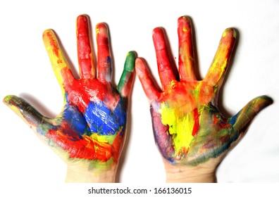 Beautiful vivid multicolored woman hands