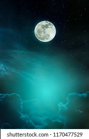 Beautiful vivid skyscape with many stars. Landscape of night sky with bright full moon and cloudy, serenity nature background, outdoor at nighttime. The moon taken with my camera.