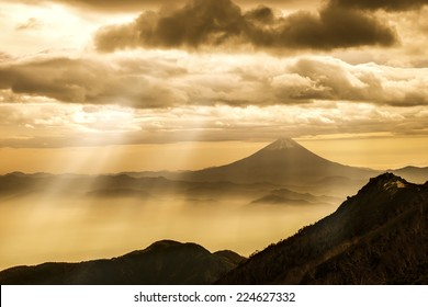 Beautiful vivid sunrise seen from the mount Fuji