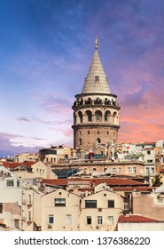 Beautiful vivid sunset over ancient Galata Tower in Istanbul, Turkey