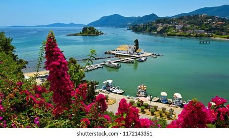 Beautiful Vlacherna Monastery and Mouse island.(Pontikonisi) Corfu - Kerkyra. Greece. Beautiful colorful island for summer holidays and travel.