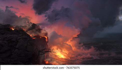 Beautiful volcanic background, landscape with orange lava flowing into the ocean water, rocks and dry trees against pink sky