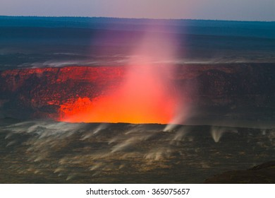 Beautiful volcanic eruption at dawn with small steaming vents on Big Island, Hawaii