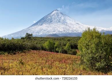 Beautiful volcanic landscape: Klyuchevskaya Sopka Volcano, Kamchatka Peninsula. Russia, Far East. The volcano of Klyuchevskaya Hill (4800 m) is the highest active volcano of Eurasia.