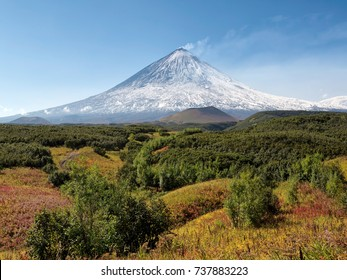 Beautiful volcanic landscape: Klyuchevskaya Sopka Volcano - active volcano of Kamchatka Peninsula. Russia.