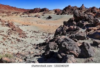 Beautiful volcanic landscape in Teide national park, Tenerife, Canary Islands, Spain.
