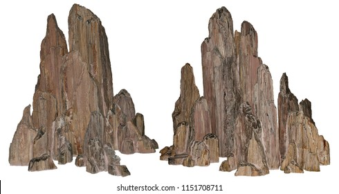 Beautiful volcanic rock carved by erosion. Stones on white background provided with a clipping path.