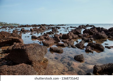 Beautiful volcanic rocks along the beach in Koh Mak island, Trat province,Thailand