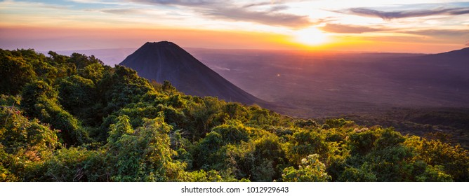 Beautiful  volcano  in Cerro Verde National Park in El Salvador at sunset