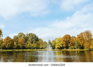 The beautiful Vondelpark in Amsterdam, Netherlands. Fall season makes the trees very colorful.