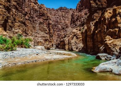 The Beautiful Wadi Mujib near Petra in Jordan