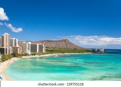 beautiful waikiki beach in tropical hawaii